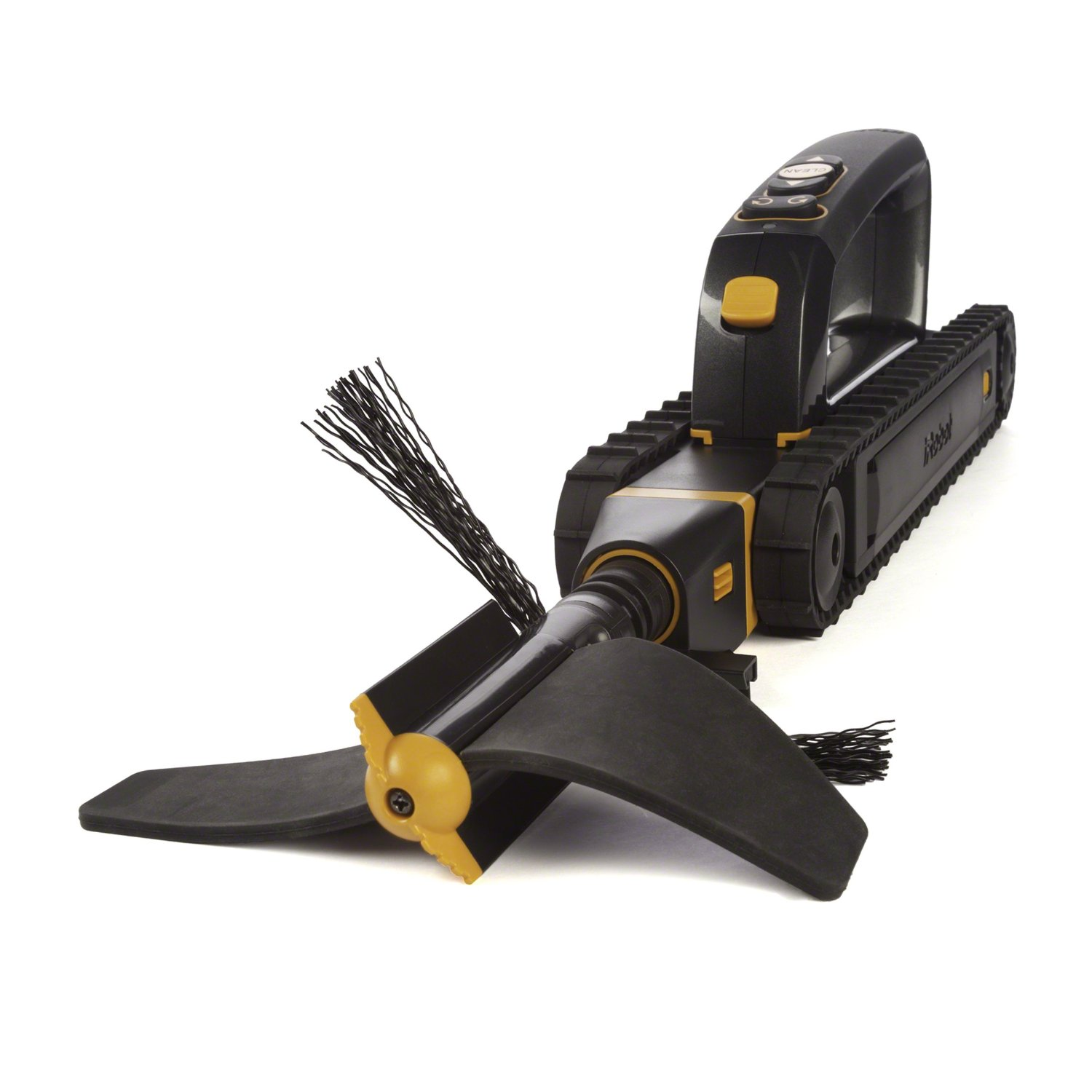 Looj cleans by using spinning auger breakers to split apart clogs (1),  ejectors to lift and throw debris from gutters (2), and sweepers and  scraper follow ...